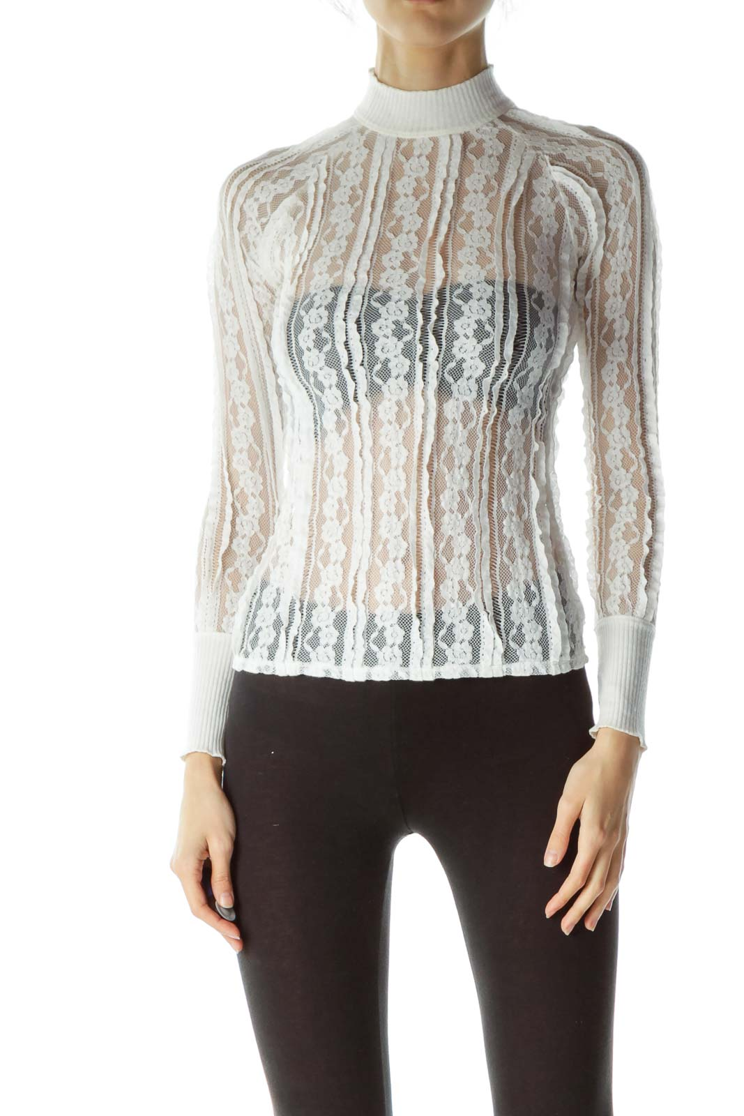 White High-Neck Lace Long Sleeve Blouse
