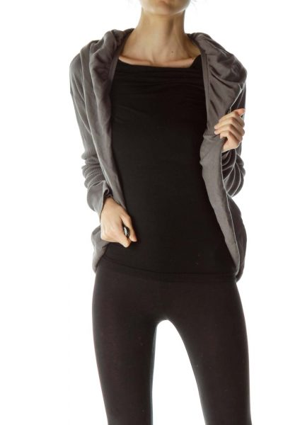 Gray Ballooned Torso Long Slim Sleeves Top
