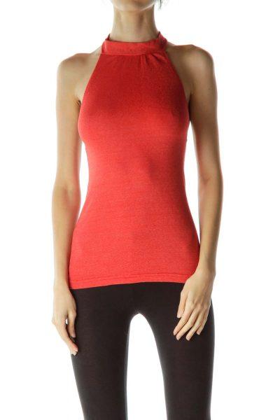 Red Metallic Knit Halter Neck Top
