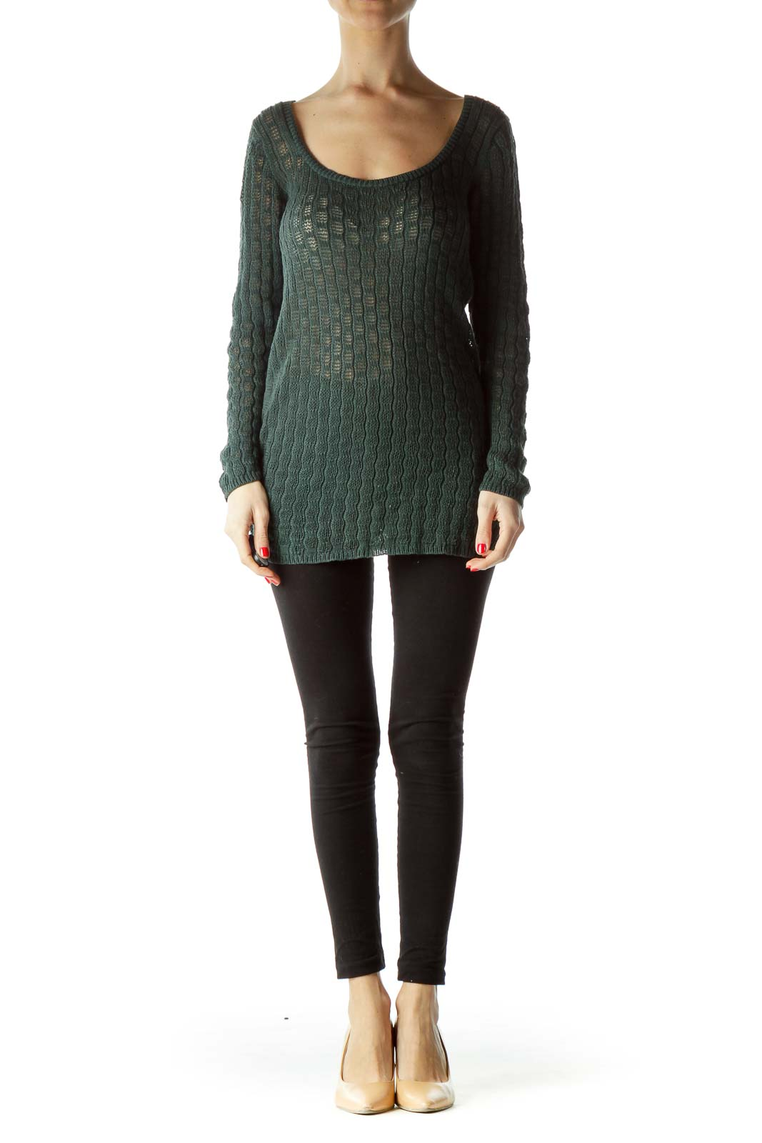 Green Knitted Long Sleeve Sweater