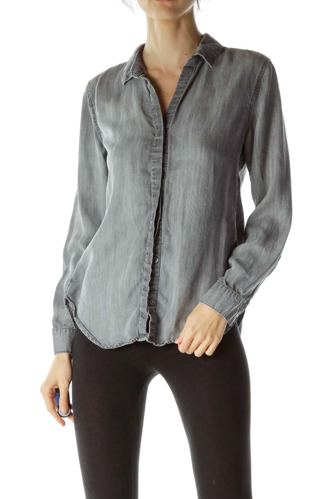 Gray Buttoned Open Back Shirt