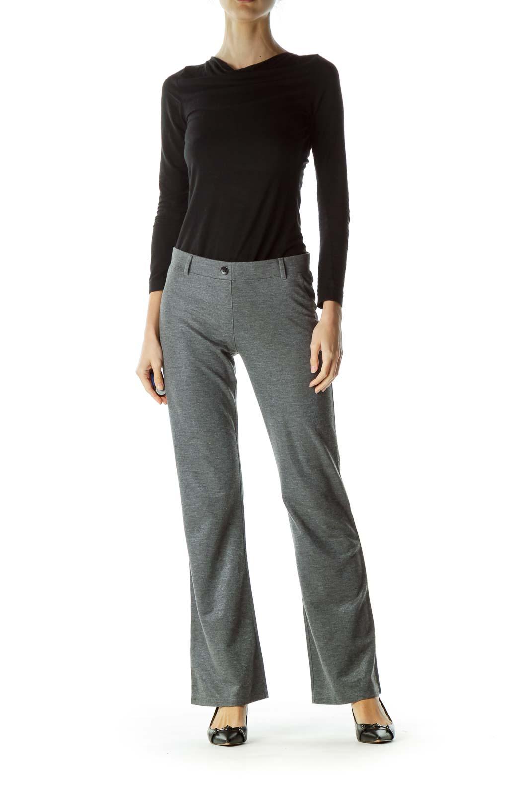 Gray Metallic Elastic Straight Leg Pants