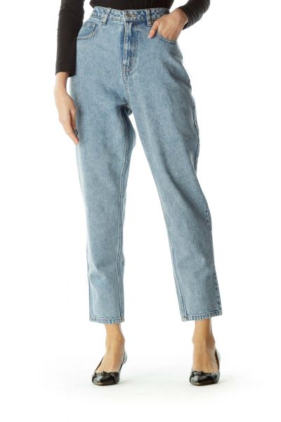 Blue Light Wash High-Waisted Denim Jeans