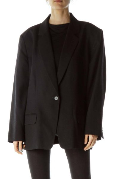 Black Virgin Wool Buttoned Blazer