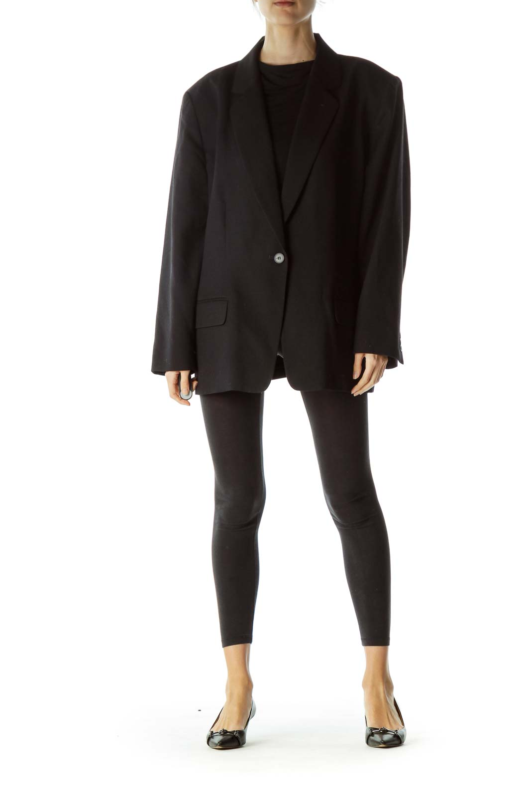 Black Virgin Wool Buttoned Blazer