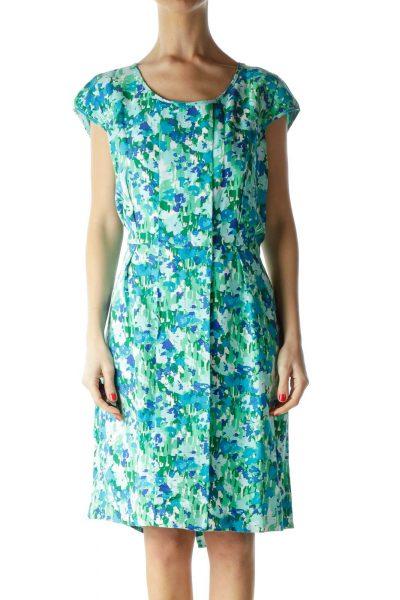 Green Print Linen Cap Sleeve Dress