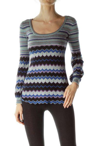 Multicolored Stripes Geometric Knit Top