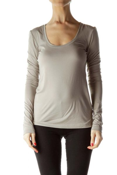 Beige Round Neck Long Sleeve Shirt