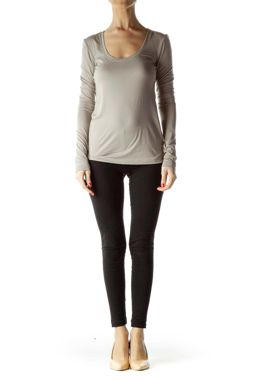 Beige Round Neck Long Sleeve Shirt