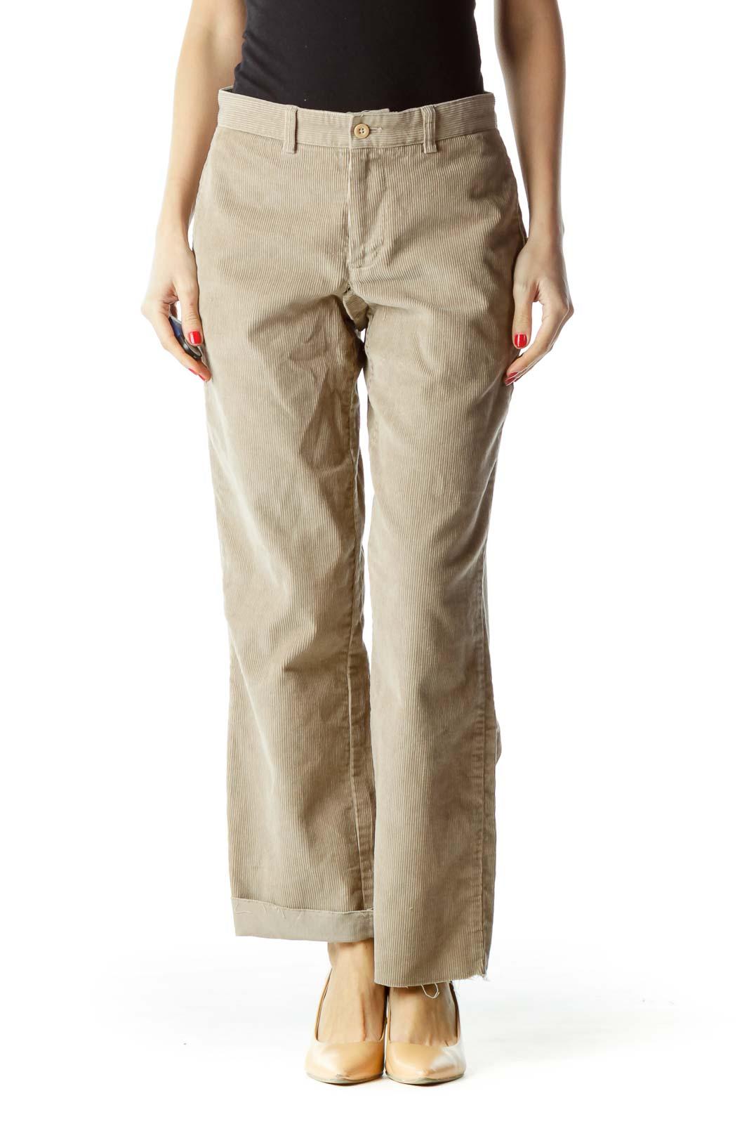 Beige Corduroy 7/8 Pants