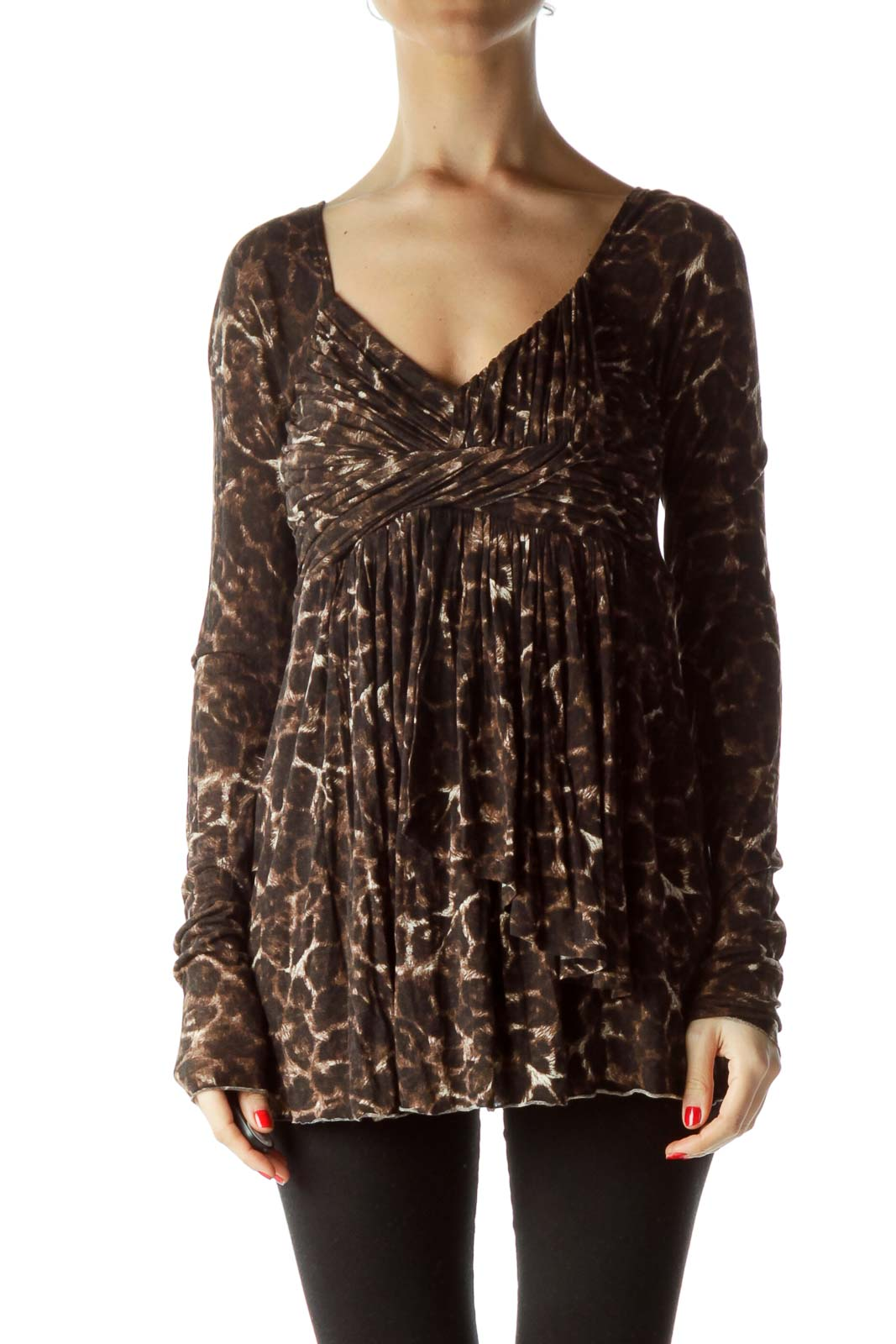 Brown Animal Print V-Neck Knot Top