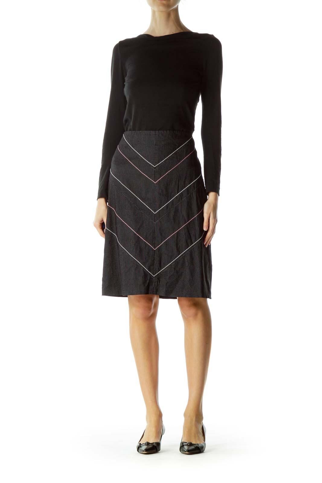 Black White Pinstripe A-Line Skirt