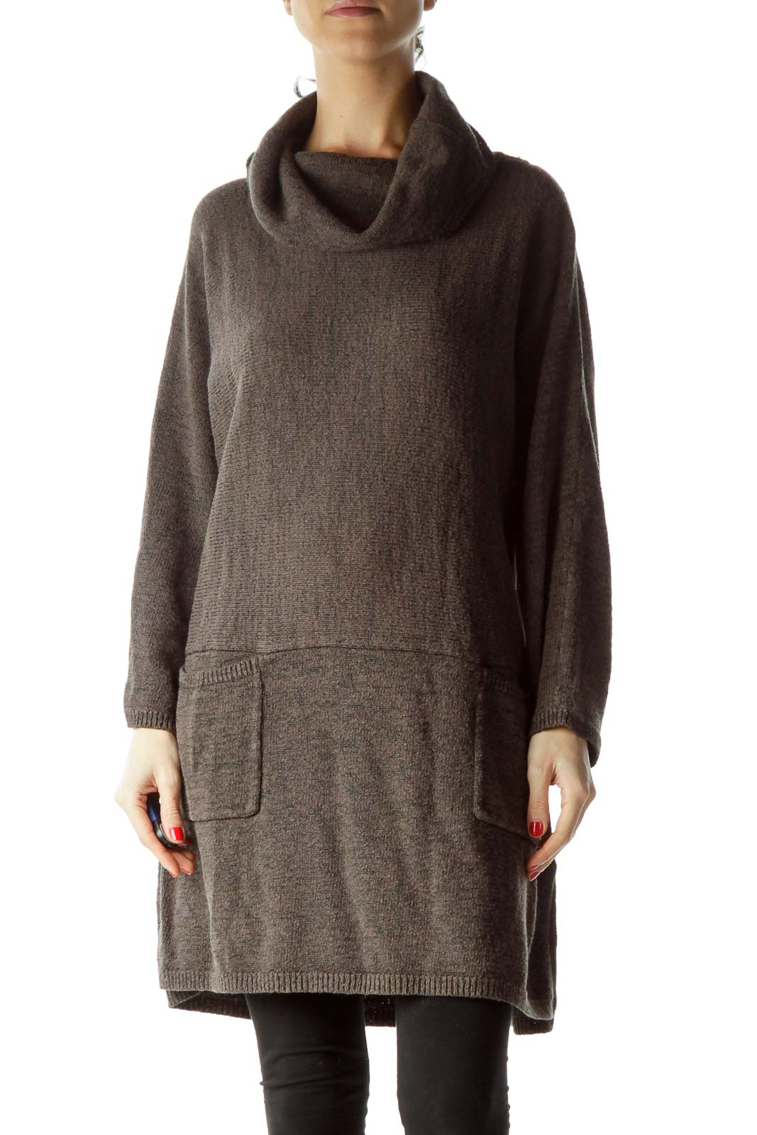 Gray Cowl Neck Pocketed Knit Dress