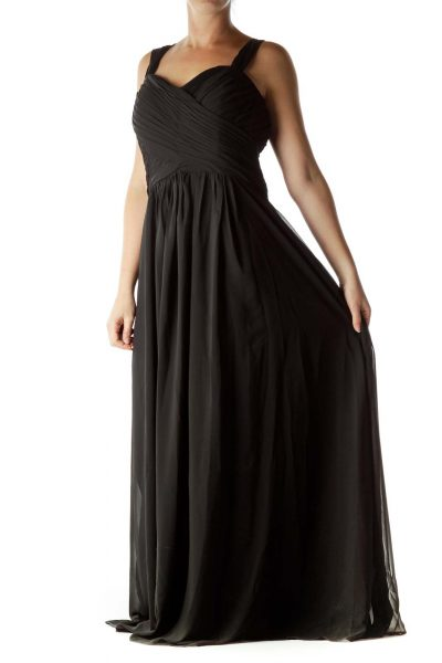 Black Empire Waist Evening Dress