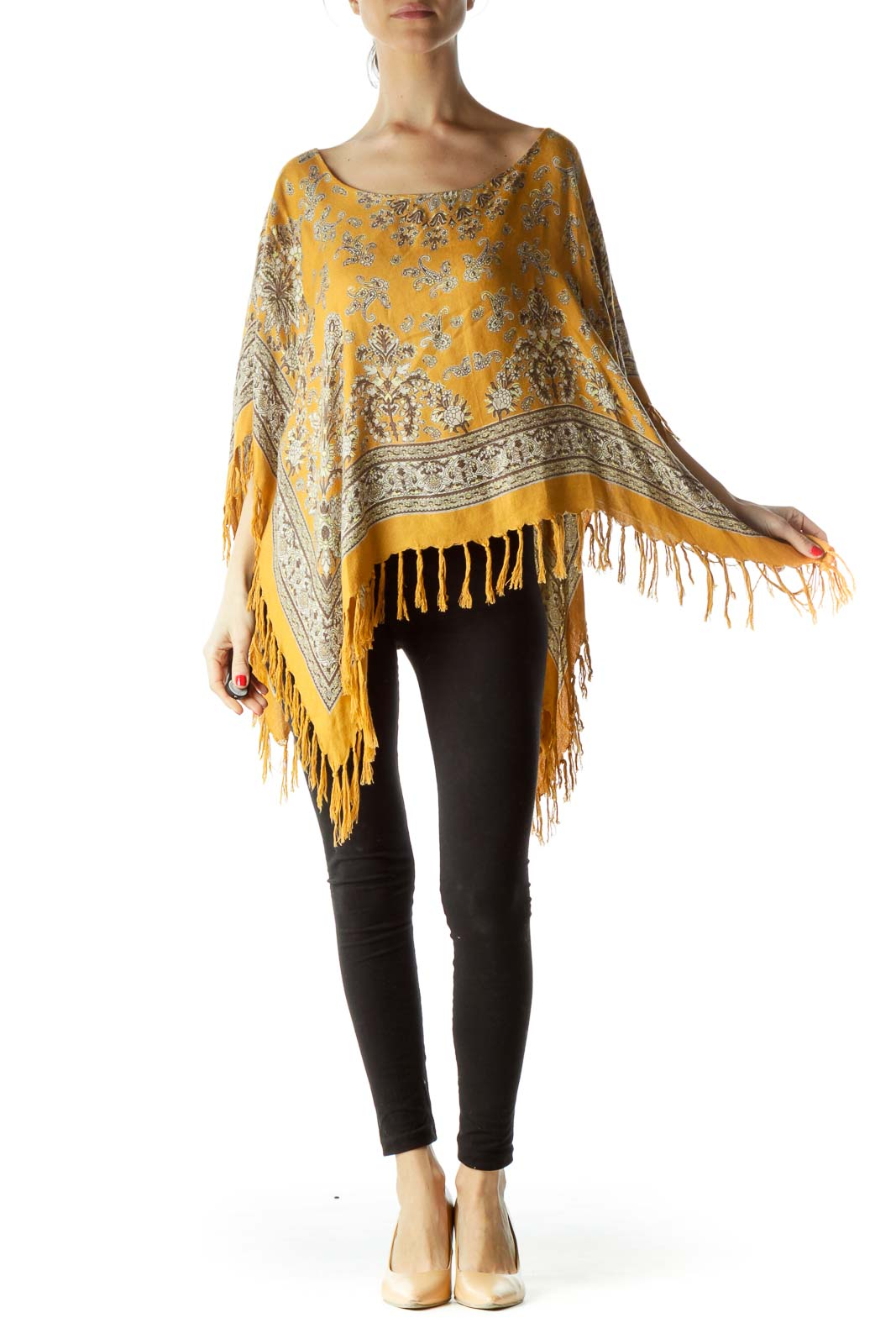 Gold Print Knit Poncho