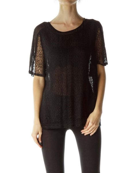 Black Knit Short Sleeve Top with Slip