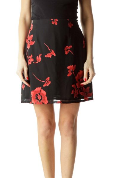 Black Red Floral Mini Skirt