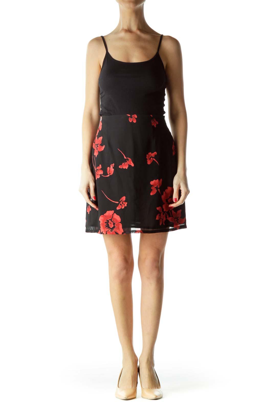 Black Red Floral Mini Skirt