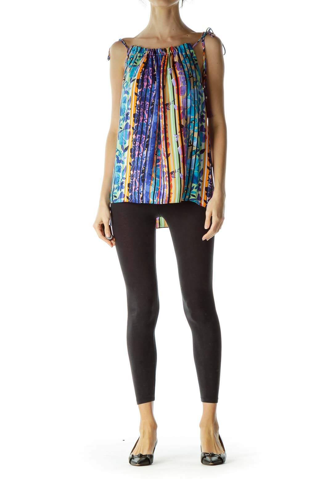 Multicolored Straps with Tassels Blouse