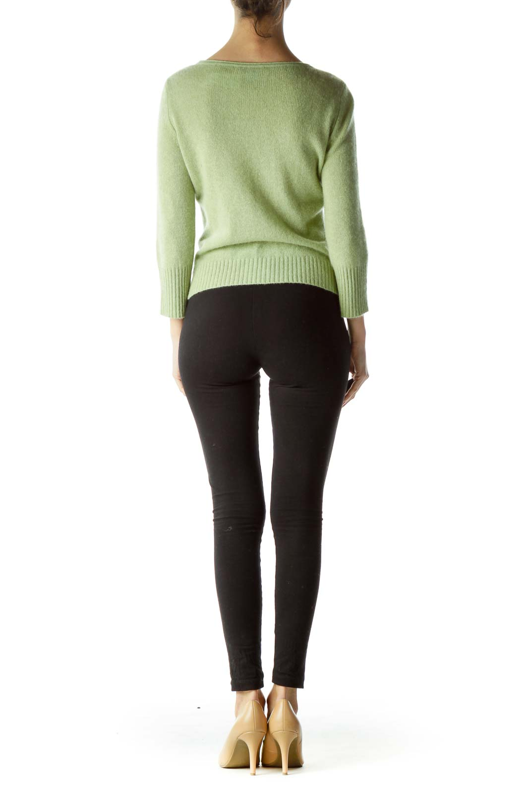 Green 100% Cashmere Buttoned Sweater