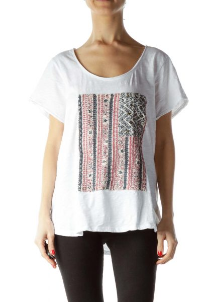 White 100% Cotton Embroidered Flag T-Shirt