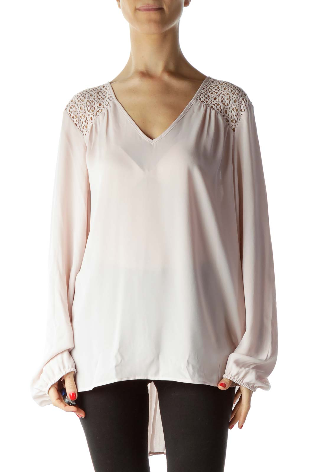 Pink V-Neck Knitted Pleated Back Blouse