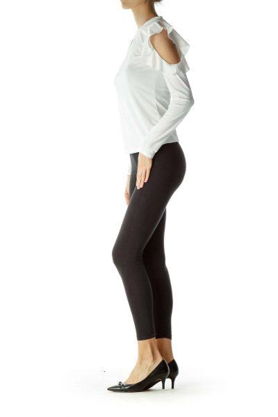 Cream Cold Shoulder Long Sleeve Blouse