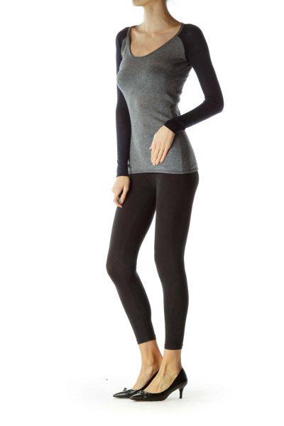 Gray Blue Cashmere Round Neck Sweater