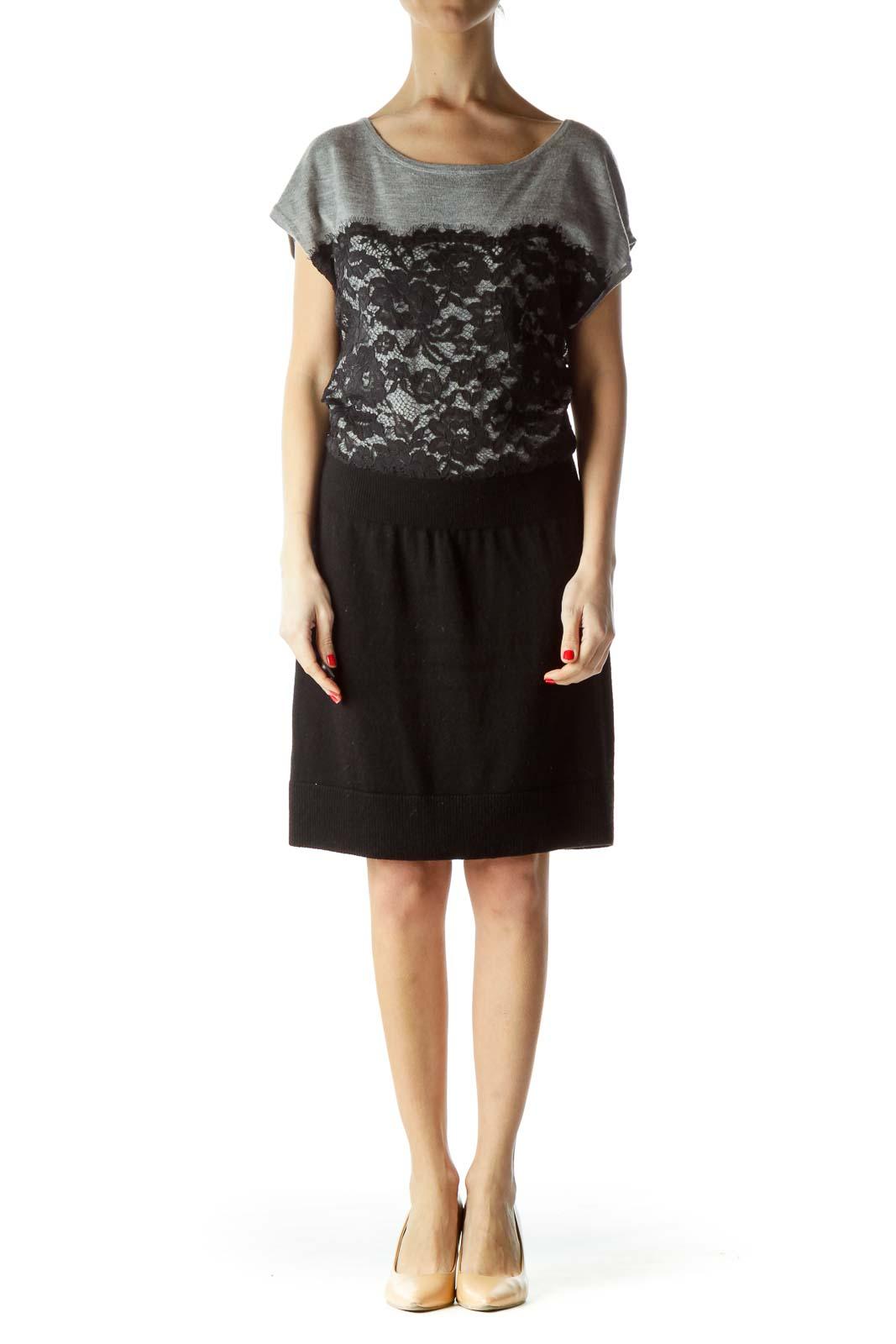 Gray Black Lace Knit Dress