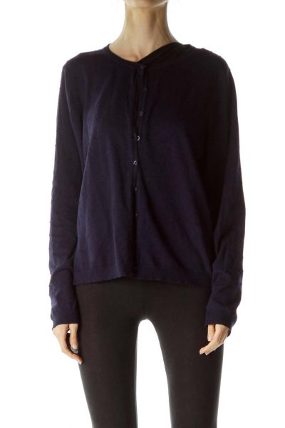Navy Blue Textured Buttoned Sweater