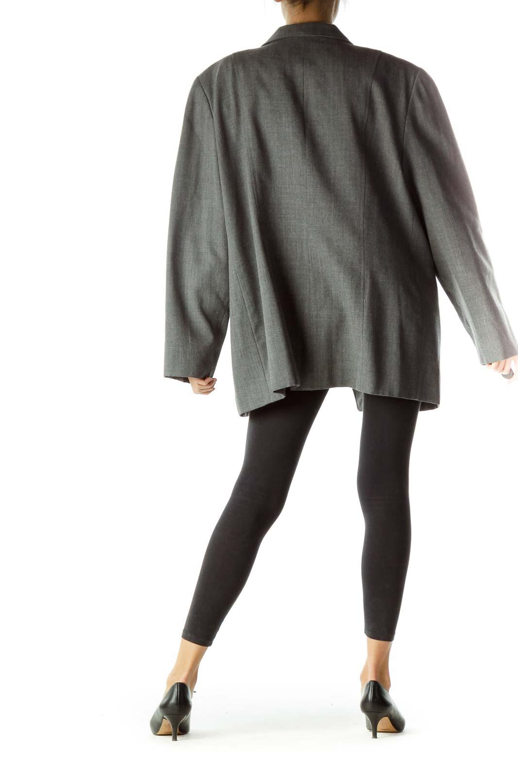 Gray Buttoned Wool Blazer