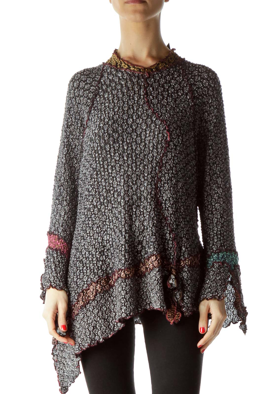 Multicolored Metallic High Neck Flared Blouse