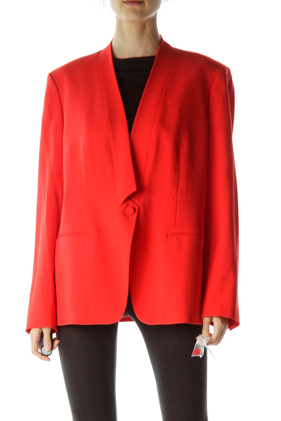Red Collared Blazer with Front Button