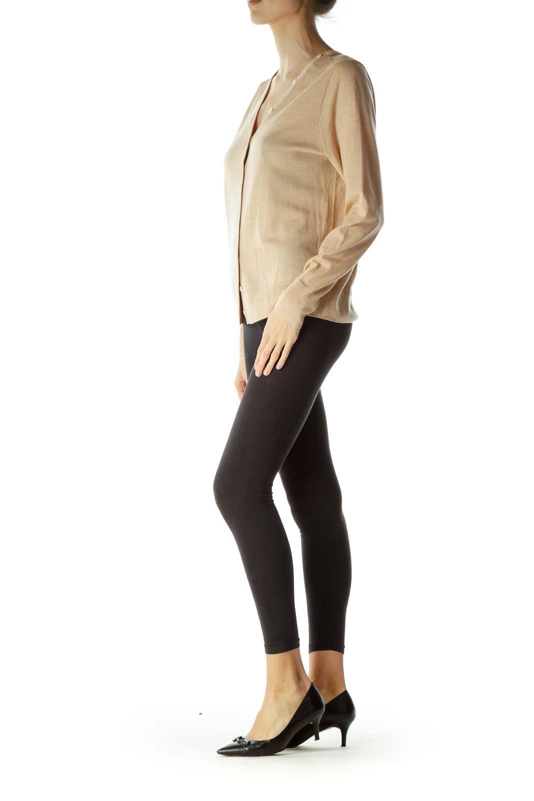 Beige Buttoned 100% Merino Wool Sweater