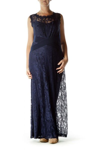 Navy Lace Sleeveless Maxi Dress