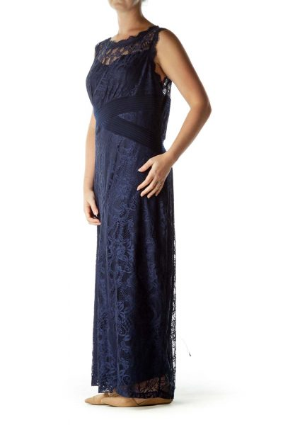 Navy Lace Sleeveless Maxi Dress