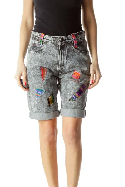 Gray Multicolor Patchwork Long Denim Shorts