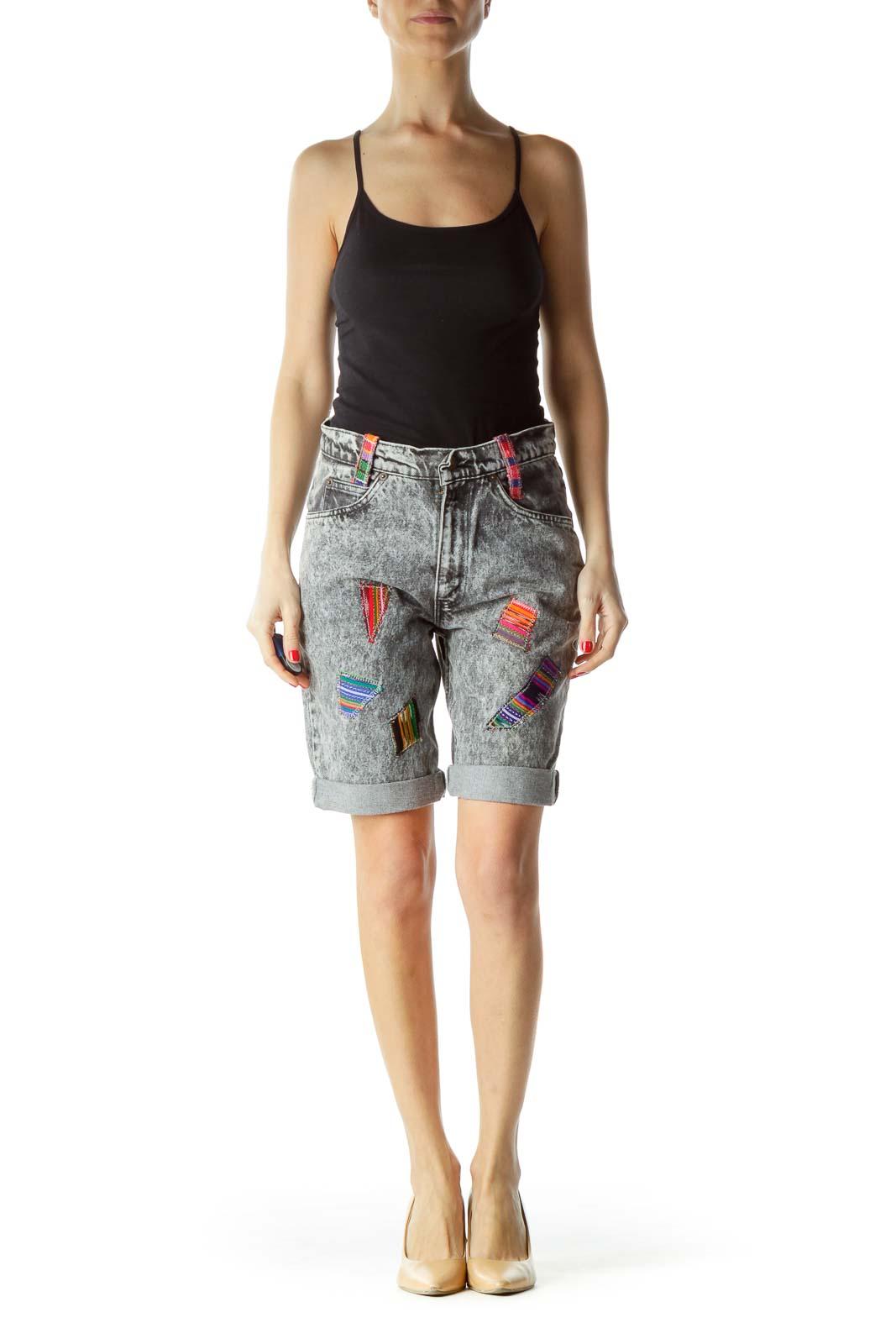 Gray Multicolor Patchwork Long Denim Shorts