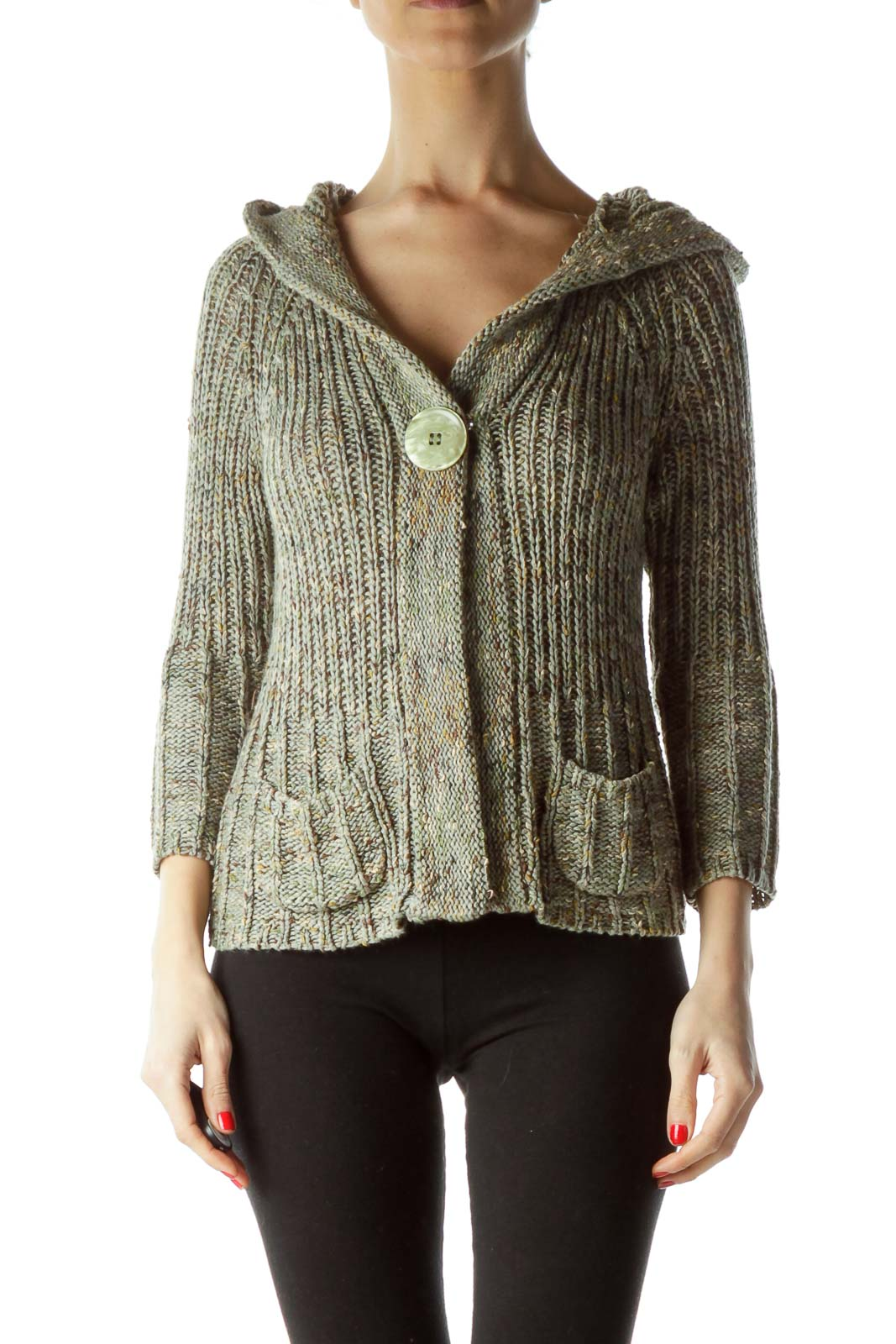 Green Hooded Pocketed 3/4 Sleeve Sweater