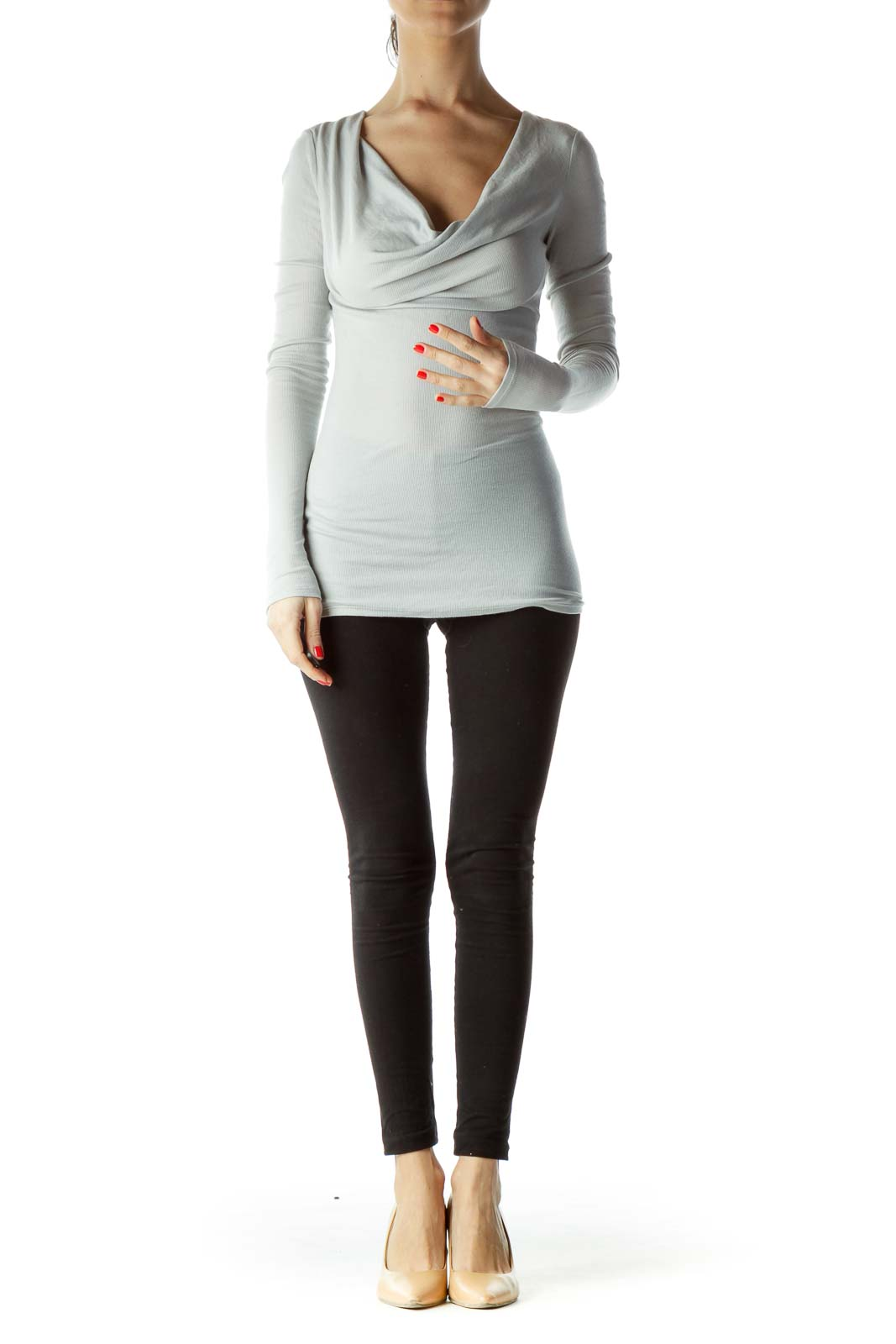 Gray Boat Neck Long Sleeve Top