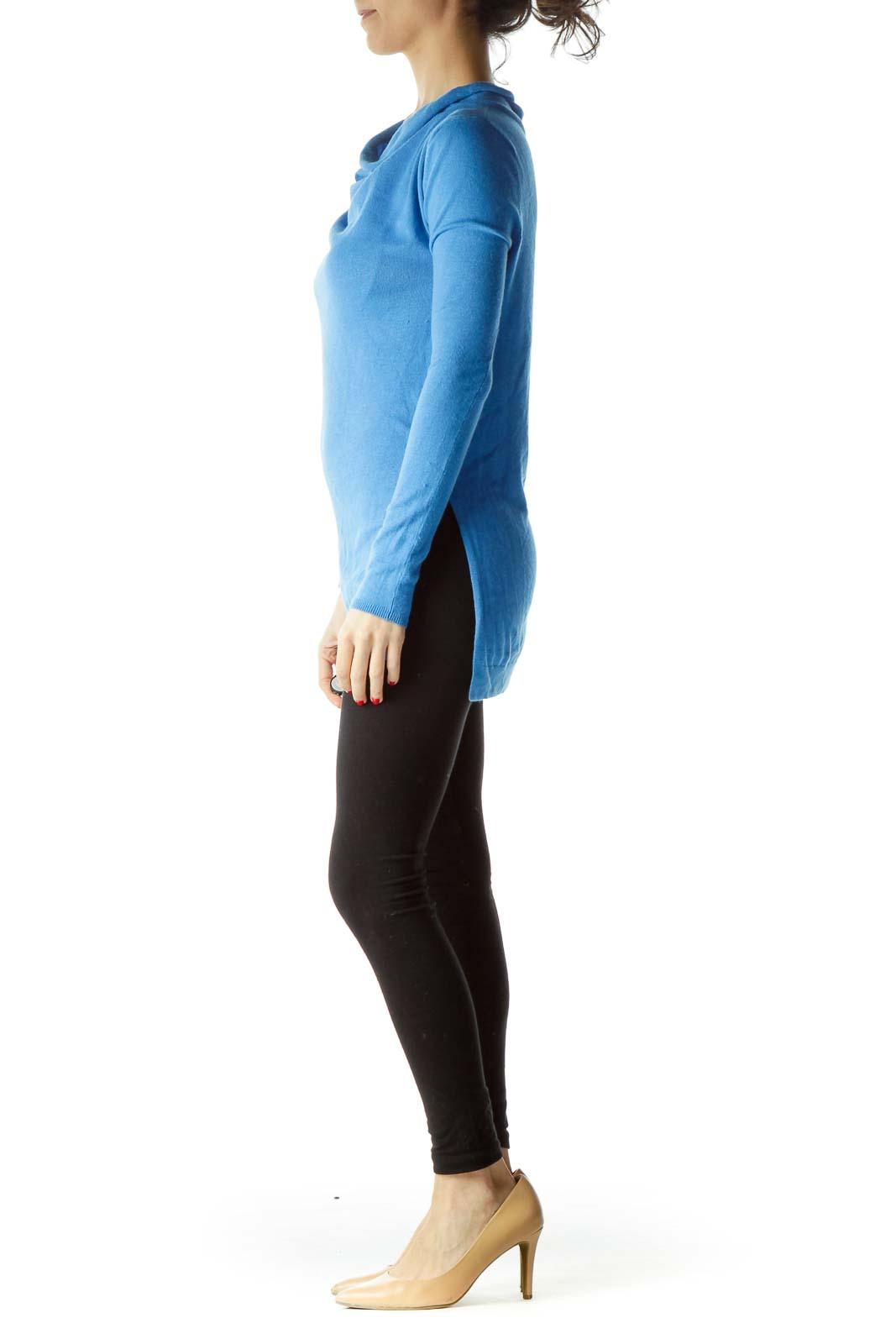 Blue Cowl Neck Angora Sweater