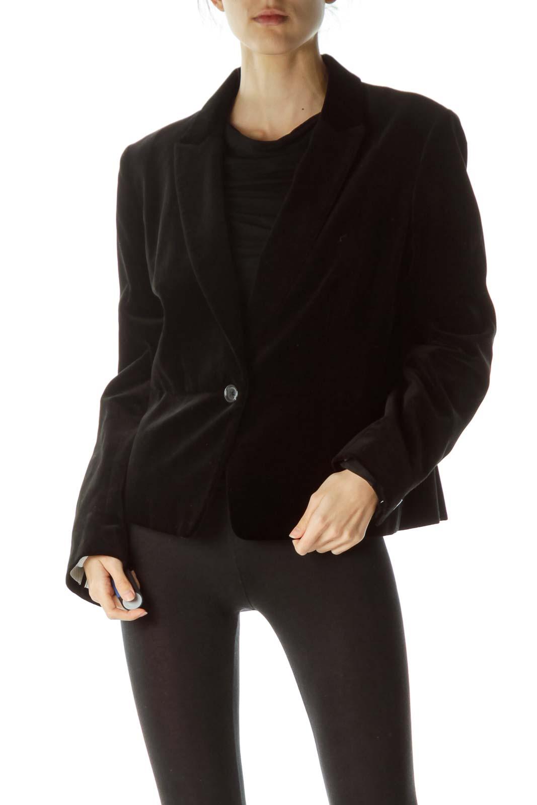 Black Velvet Blazer with Front Button