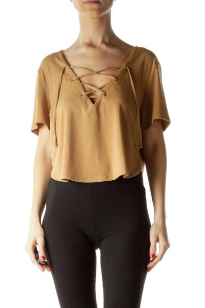 Gold V-Neck with Drawstring Short Sleeve Top