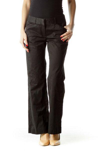 Black Wide-Leg Pocketed Slacks
