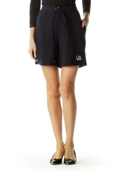 Navy Drawstring Sweat Shorts