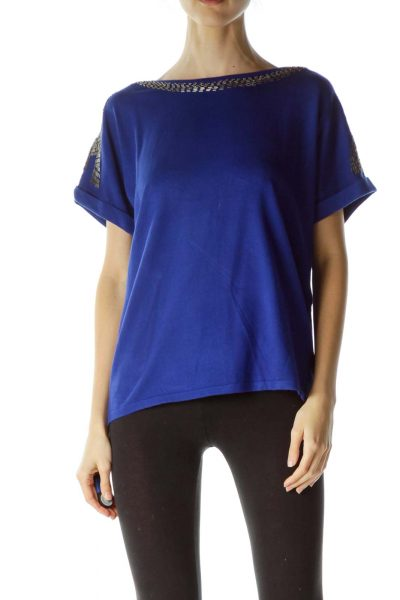 Electric Blue Embellished Knit Top