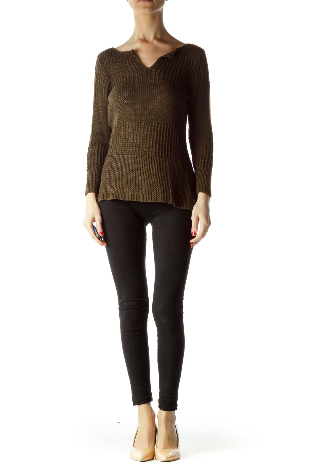 Brown Long Sleeve Knit Top