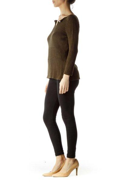 Brown Long Sleeve Knit Top