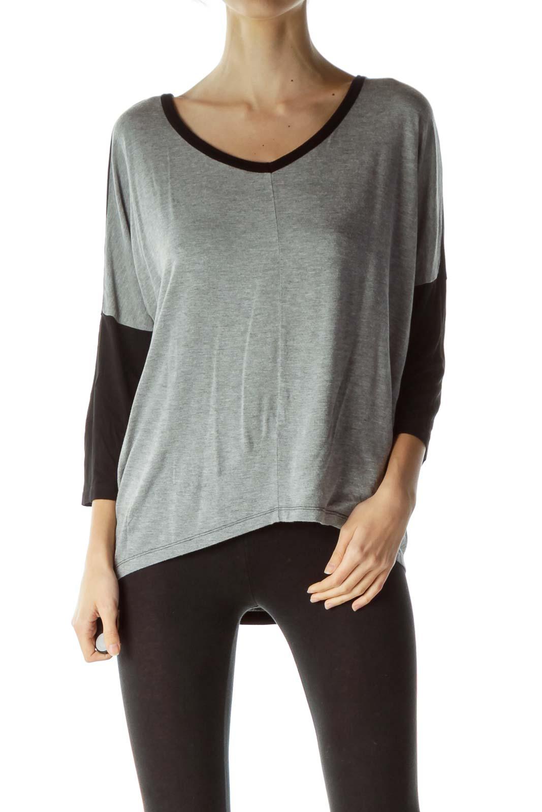 Gray Black V-Neck T-Shirt
