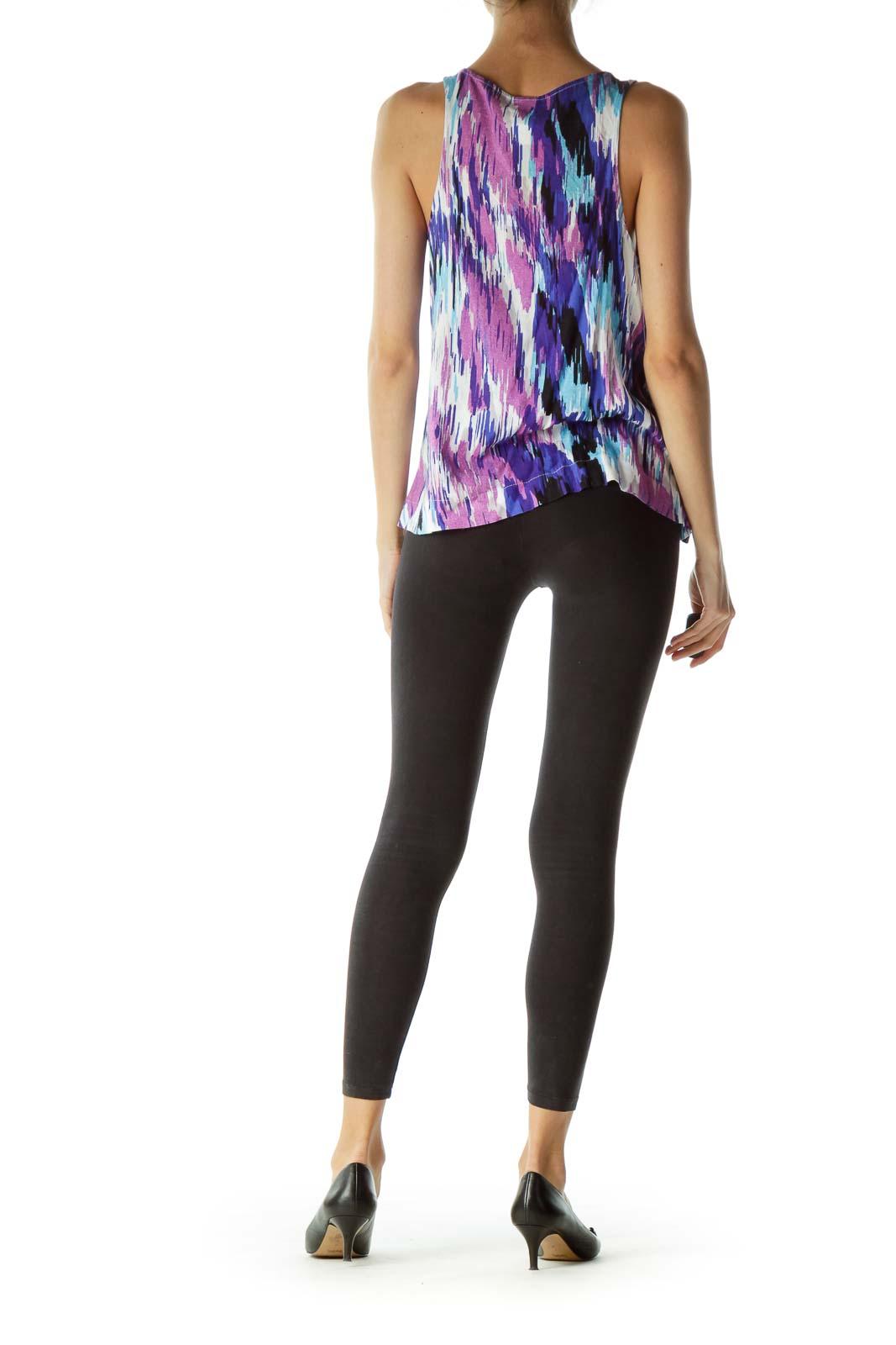 Purple Multicolored Print Sleeveless Blouse